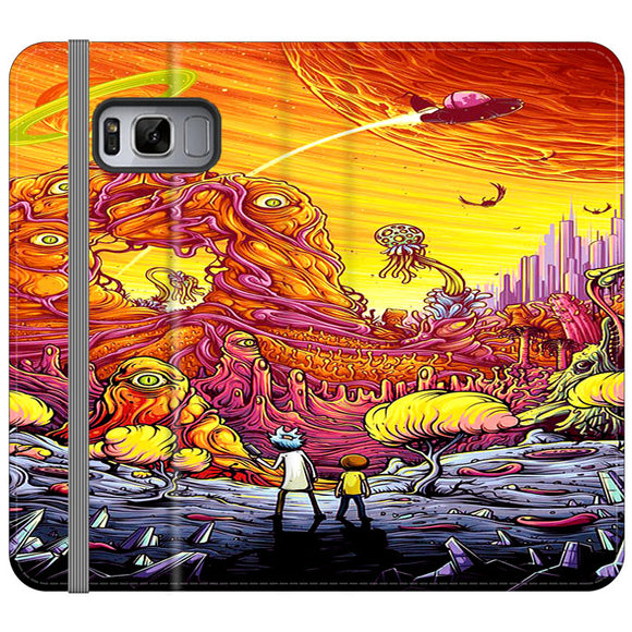 Rick And Morty World Full Colour Samsung Galaxy S8 Flip Case | Frostedcase