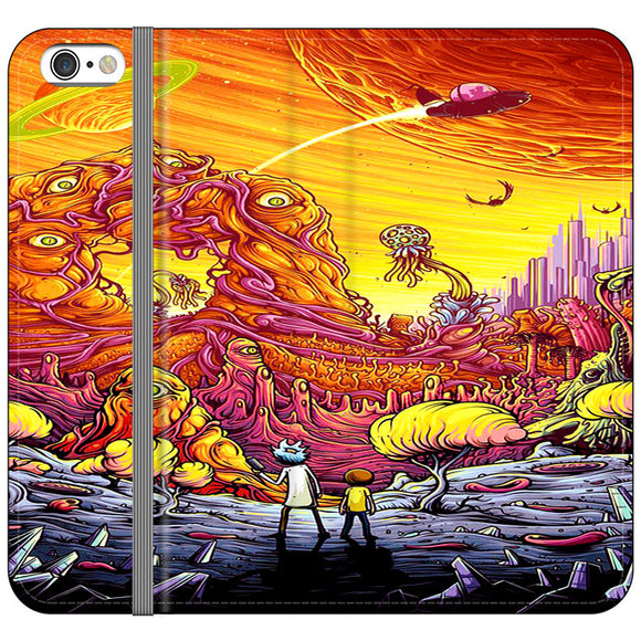 Rick And Morty World Full Colour iPhone 6|6S Flip Case | Frostedcase