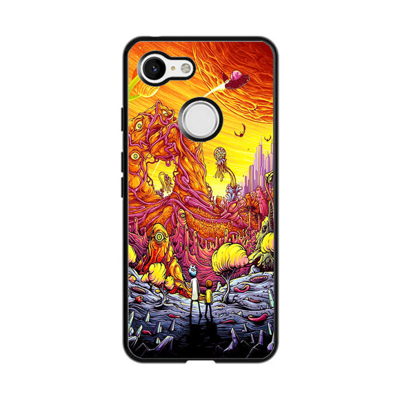 Rick And Morty World Full Colour Google Pixel 3 XL Case | Frostedcase