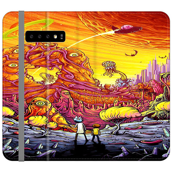 Rick And Morty World Full Colour Samsung Galaxy S10e Flip Case | Frostedcase