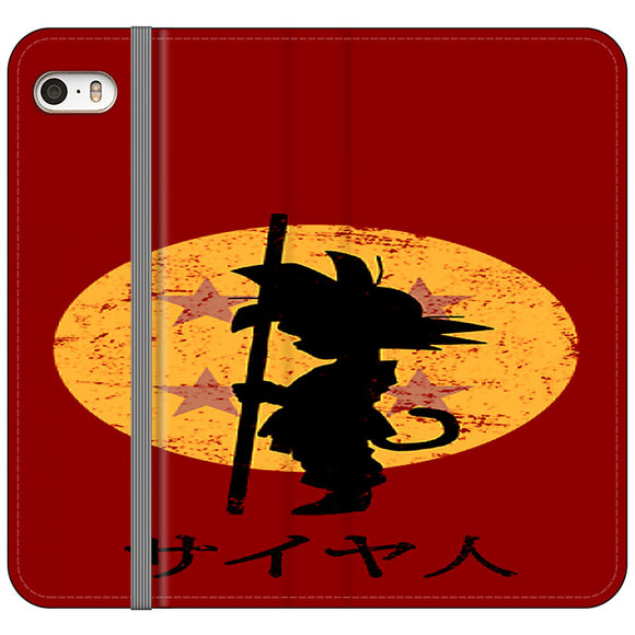 Son Goku Red Silhouette And Moon iPhone 5|5S|SE Flip Case | Frostedcase