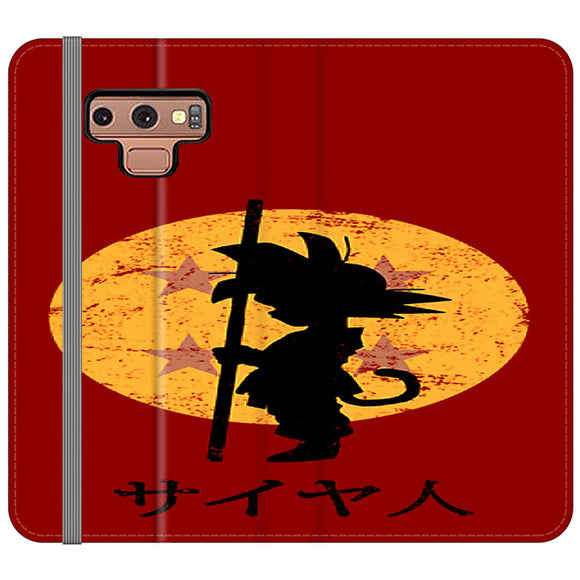 Son Goku Red Silhouette And Moon Samsung Galaxy Note 9 Flip Case | Frostedcase