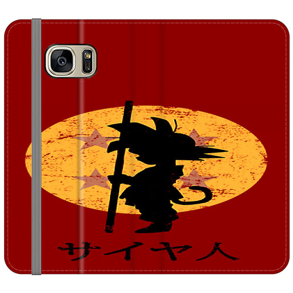 Son Goku Red Silhouette And Moon Samsung Galaxy S7 EDGE Flip Case | Frostedcase