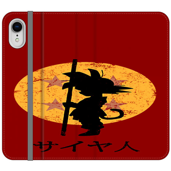 Son Goku Red Silhouette And Moon iPhone XR Flip Case | Frostedcase