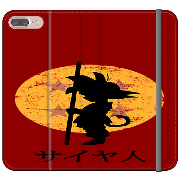 Son Goku Red Silhouette And Moon iPhone 7 Plus Flip Case | Frostedcase