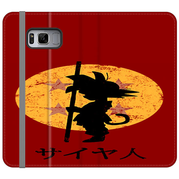 Son Goku Red Silhouette And Moon Samsung Galaxy S8 Flip Case | Frostedcase