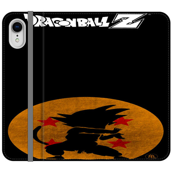 Son Goku Silhouette Of The Moon And Logotype iPhone XR Flip Case | Frostedcase