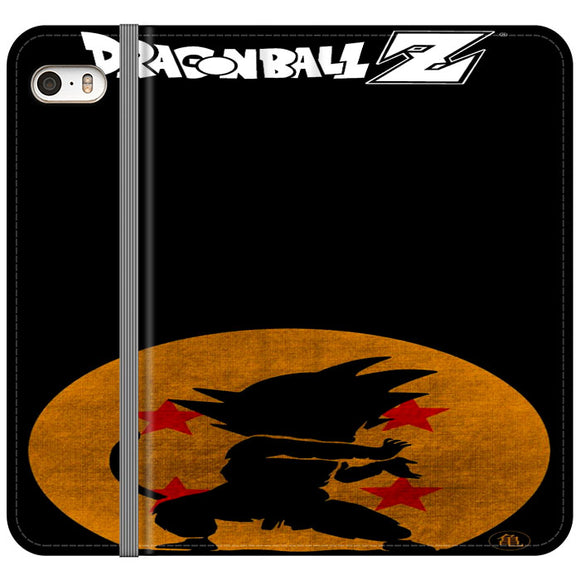 Son Goku Silhouette Of The Moon And Logotype iPhone 5|5S|SE Flip Case | Frostedcase