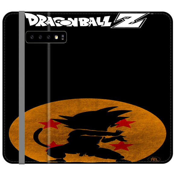 Son Goku Silhouette Of The Moon And Logotype Samsung Galaxy S10e Flip Case | Frostedcase