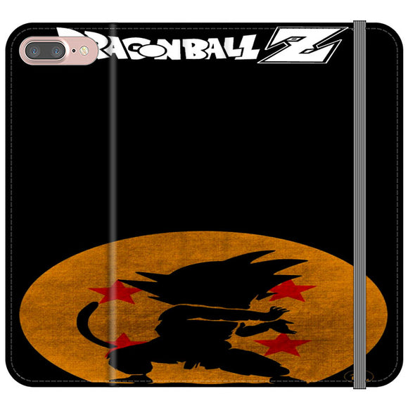 Son Goku Silhouette Of The Moon And Logotype iPhone 7 Plus Flip Case | Frostedcase