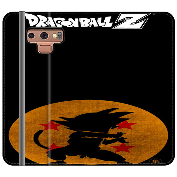 Son Goku Silhouette Of The Moon And Logotype Samsung Galaxy Note 9 Flip Case | Frostedcase