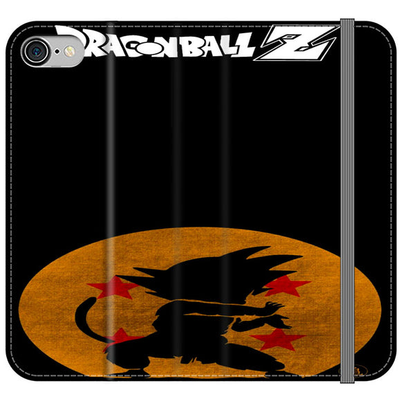 Son Goku Silhouette Of The Moon And Logotype iPhone 8 Flip Case | Frostedcase