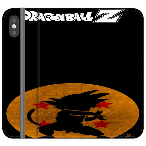 Son Goku Silhouette Of The Moon And Logotype iPhone XS Flip Case | Frostedcase