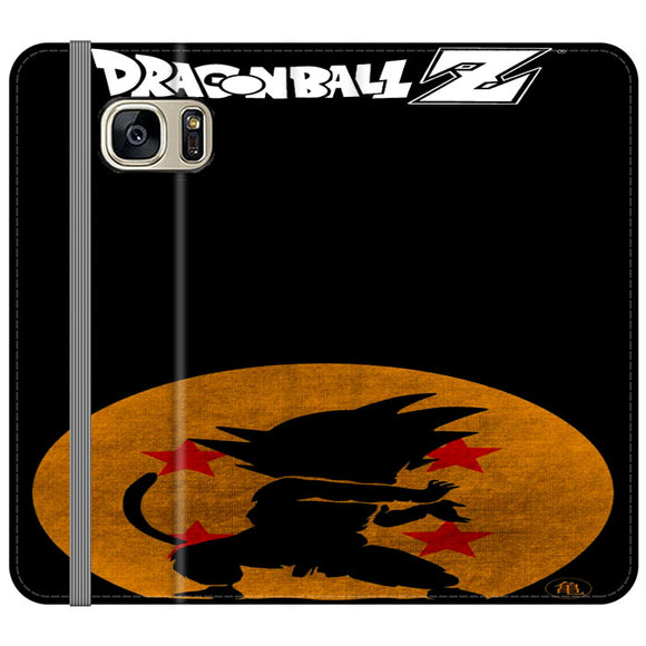 Son Goku Silhouette Of The Moon And Logotype Samsung Galaxy S7 EDGE Flip Case | Frostedcase