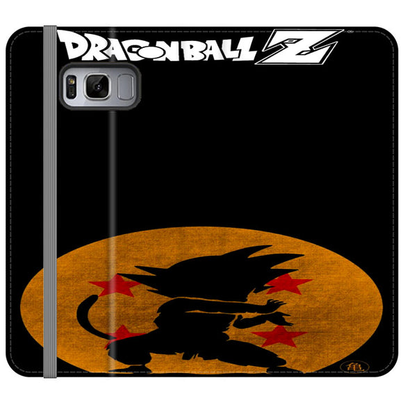 Son Goku Silhouette Of The Moon And Logotype Samsung Galaxy S8 Flip Case | Frostedcase