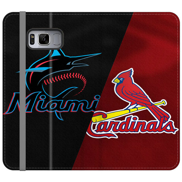 St Louis Cardinals X Miami Marlins Emblem Samsung Galaxy S8 Flip Case | Frostedcase