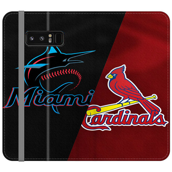 St Louis Cardinals X Miami Marlins Emblem Samsung Galaxy Note 8 Flip Case | Frostedcase