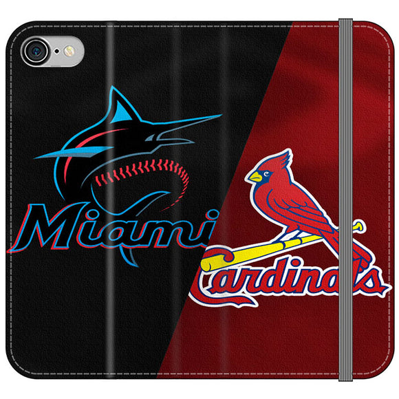 St Louis Cardinals X Miami Marlins Emblem iPhone 8 Flip Case | Frostedcase