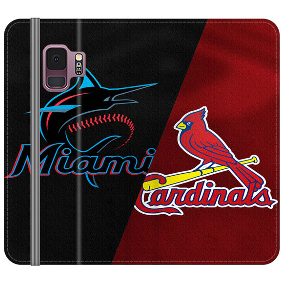 St Louis Cardinals X Miami Marlins Emblem Samsung Galaxy S9 Flip Case | Frostedcase