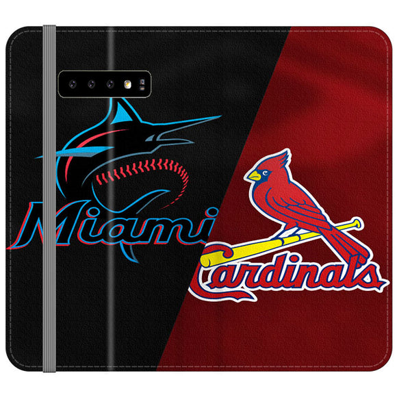 St Louis Cardinals X Miami Marlins Emblem Samsung Galaxy S10 Plus Flip Case | Frostedcase