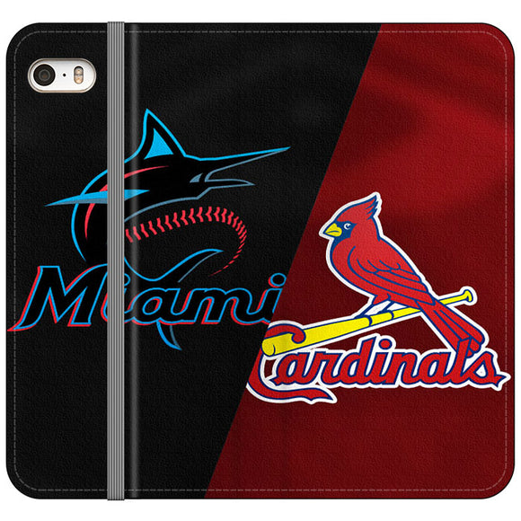 St Louis Cardinals X Miami Marlins Emblem iPhone 5|5S|SE Flip Case | Frostedcase