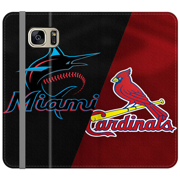 St Louis Cardinals X Miami Marlins Emblem Samsung Galaxy S7 EDGE Flip Case | Frostedcase