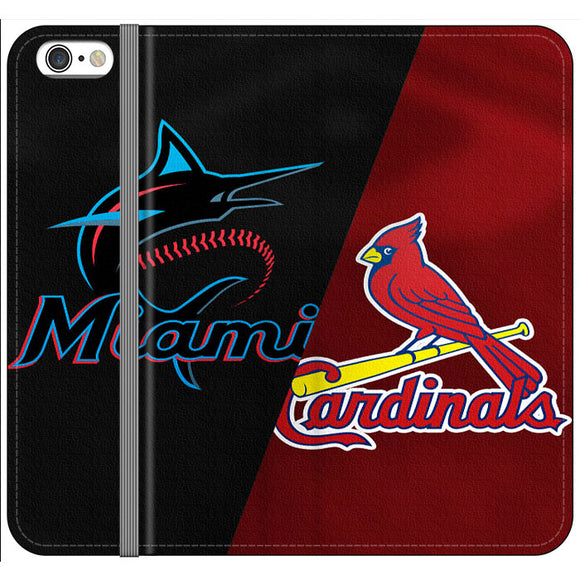 St Louis Cardinals X Miami Marlins Emblem iPhone 6|6S Flip Case | Frostedcase