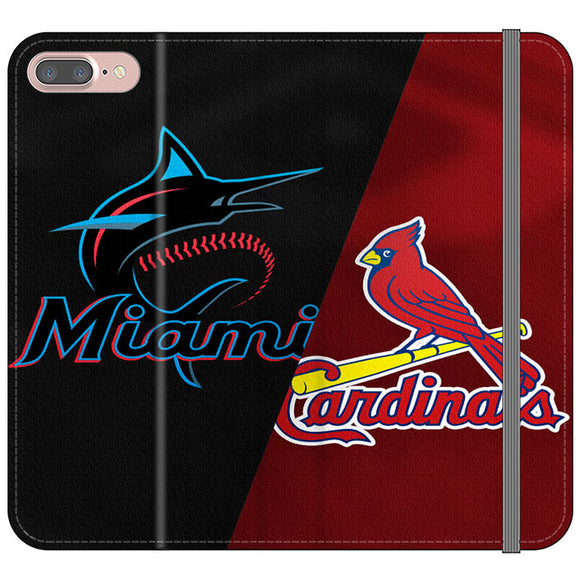 St Louis Cardinals X Miami Marlins Emblem iPhone 8 Plus Flip Case | Frostedcase