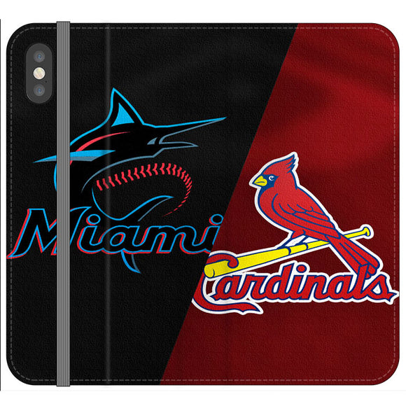 St Louis Cardinals X Miami Marlins Emblem iPhone XS Flip Case | Frostedcase