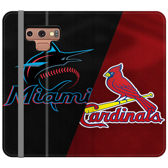 St Louis Cardinals X Miami Marlins Emblem Samsung Galaxy Note 9 Flip Case | Frostedcase