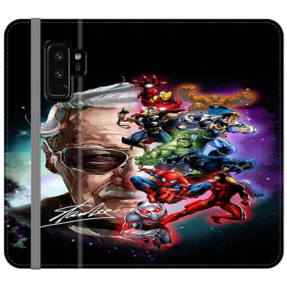 Stan Lee And The Marvel Painting Character Samsung Galaxy S9 Plus Flip Case | Frostedcase