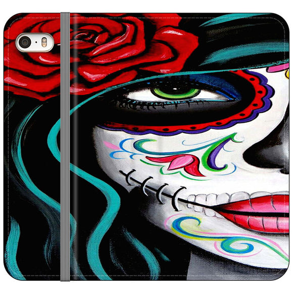 Sugar Skull Acrylic Painting iPhone 5|5S|SE Flip Case | Frostedcase
