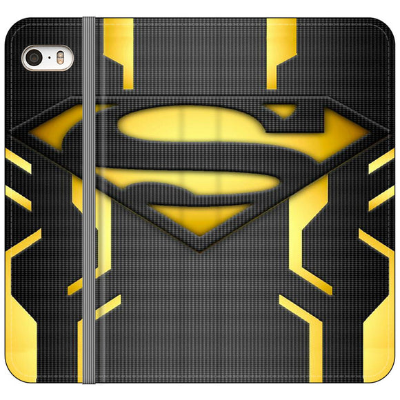 Super Hero Superman Logo Metallic iPhone 5|5S|SE Flip Case | Frostedcase