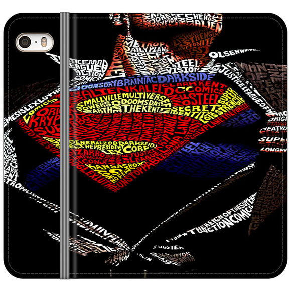 Super Hero Superman Word Ilustrasi iPhone 5|5S|SE Flip Case | Frostedcase