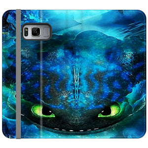 Toothless Face Art Blue Smoke Samsung Galaxy S8 Plus Flip Case | Frostedcase
