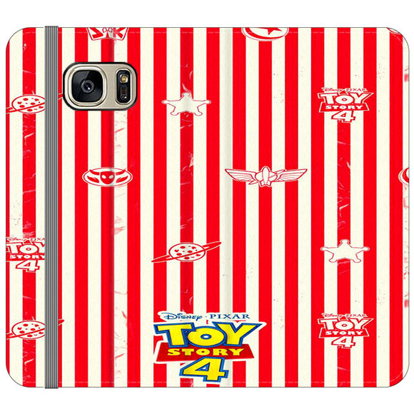 Toy Story 4 Blaster Red White Samsung Galaxy S7 EDGE Flip Case | Frostedcase