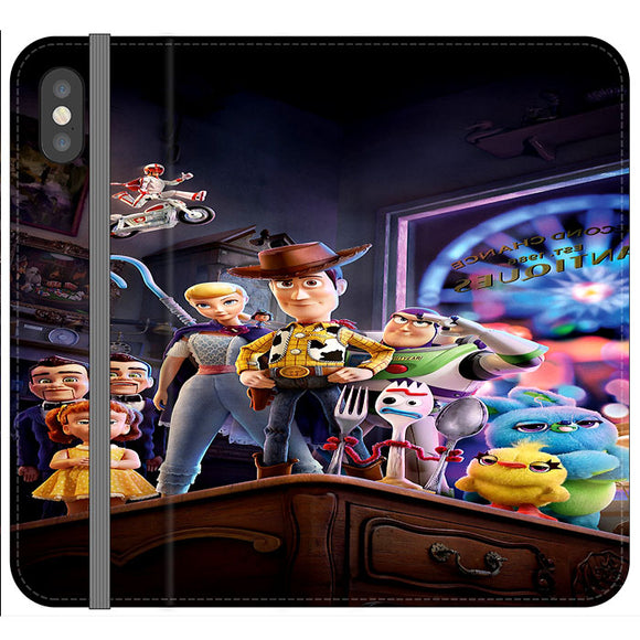 Toy Story 4 Poster In Action iPhone XS Flip Case | Frostedcase