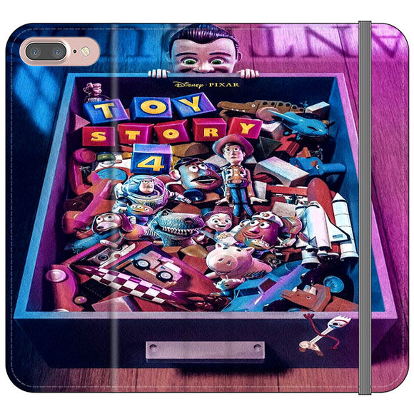 Toy Story 4 In The Antiques Item Box iPhone 8 Plus Flip Case | Frostedcase