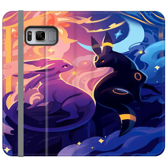 Umbon And Espeon Animated Paintings Samsung Galaxy S8 Plus Flip Case | Frostedcase