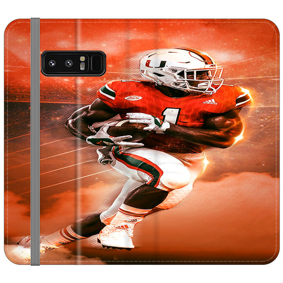 University Of Miami Football Samsung Galaxy Note 8 Flip Case | Frostedcase