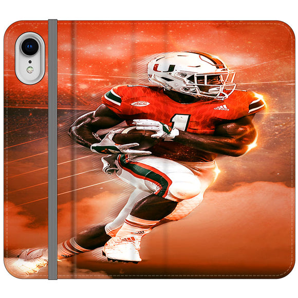 University Of Miami Football iPhone XR Flip Case | Frostedcase