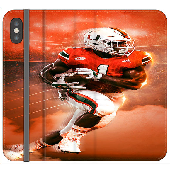University Of Miami Football iPhone X Flip Case | Frostedcase