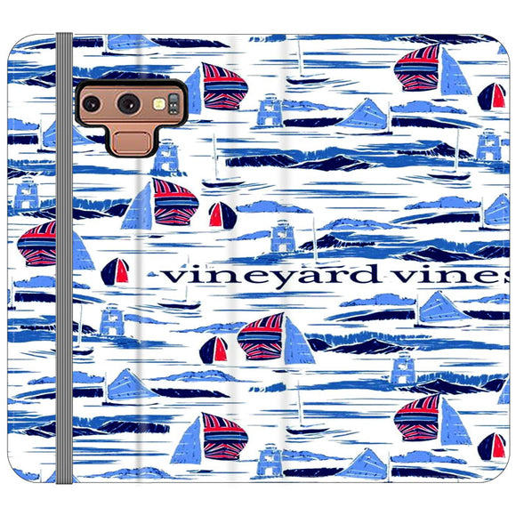 Vineyard Vines Boat Art Samsung Galaxy Note 9 Flip Case | Frostedcase