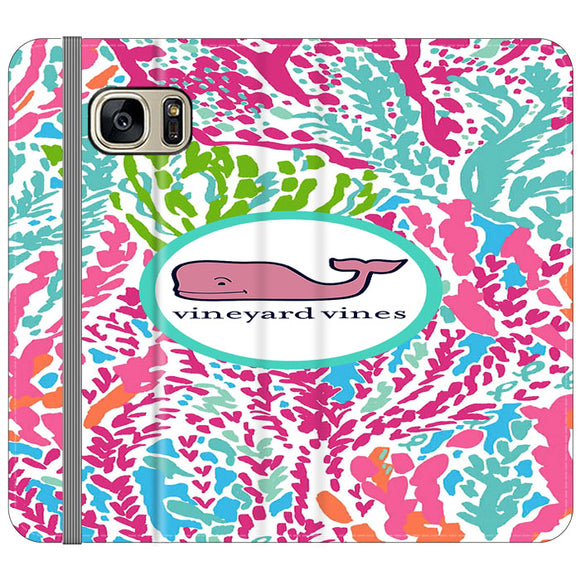 Vineyard Vines Algae Color Samsung Galaxy S7 EDGE Flip Case | Frostedcase
