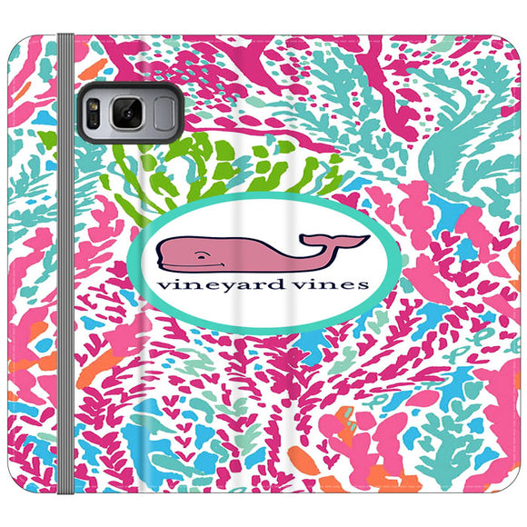 Vineyard Vines Algae Color Samsung Galaxy S8 Plus Flip Case | Frostedcase