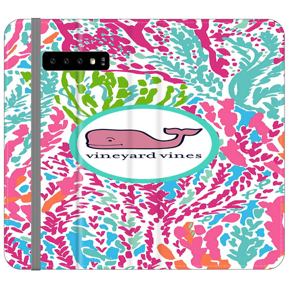 Vineyard Vines Algae Color Samsung Galaxy S10 Plus Flip Case | Frostedcase