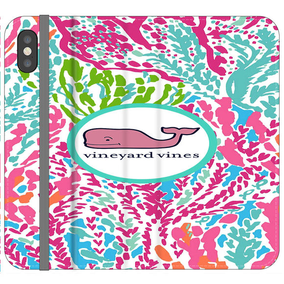 Vineyard Vines Algae Color iPhone XS Max Flip Case | Frostedcase