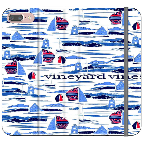 Vineyard Vines Boat Art iPhone 8 Plus Flip Case | Frostedcase