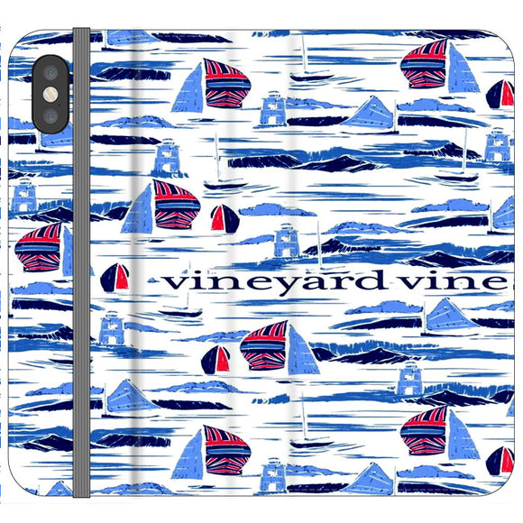 Vineyard Vines Boat Art iPhone XS Flip Case | Frostedcase