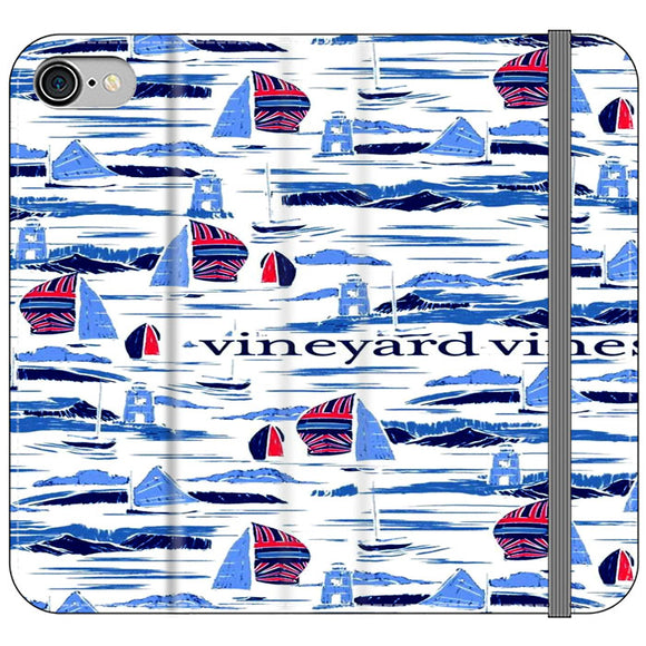 Vineyard Vines Boat Art iPhone 8 Flip Case | Frostedcase